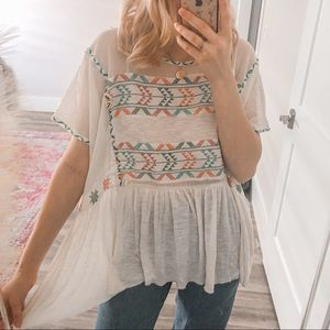FREE PEOPLE Tribal Embroidered Mesh Peplum Top
